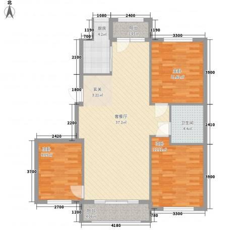 朝阳鸿盛世家3室1厅1卫1厨118.00㎡户型图
