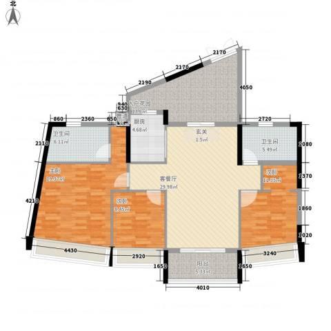 鸿洲・天玺3室1厅2卫1厨148.00㎡户型图