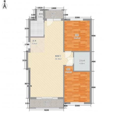朝阳鸿盛世家2室1厅1卫1厨105.00㎡户型图