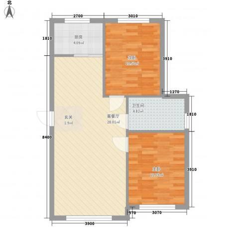 朝阳鸿盛世家2室1厅1卫1厨81.00㎡户型图