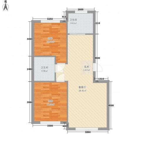 朝阳鸿盛世家2室1厅2卫0厨82.00㎡户型图