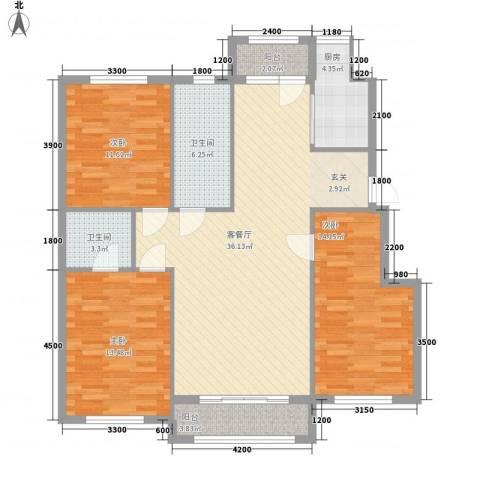 朝阳鸿盛世家3室1厅2卫1厨133.00㎡户型图