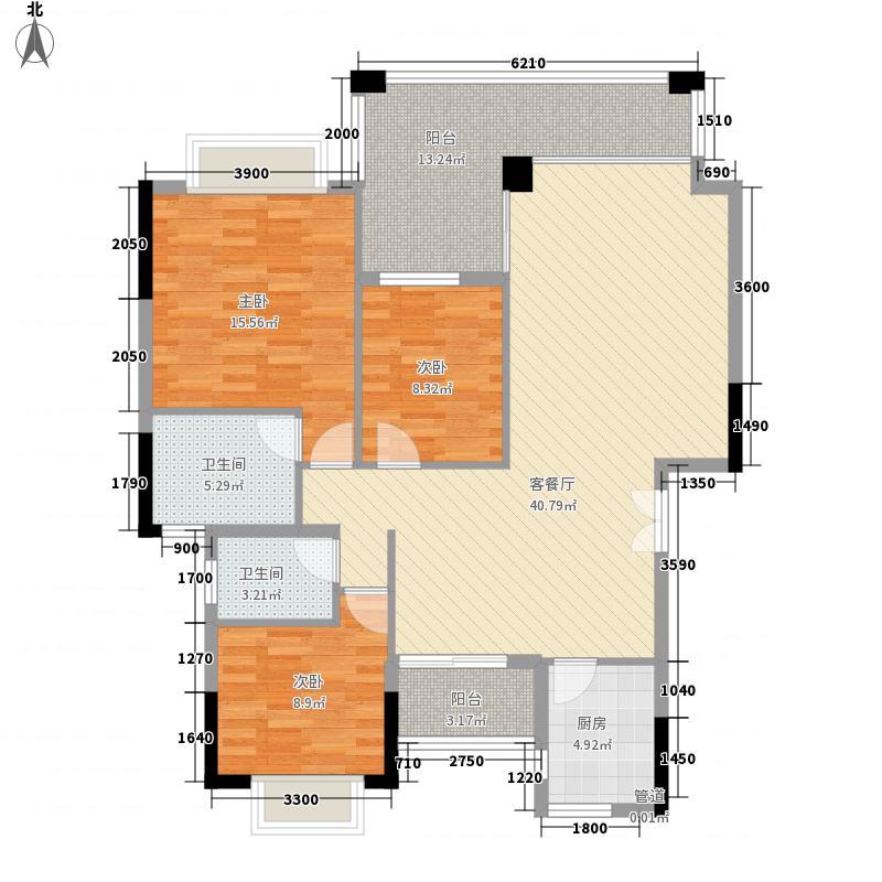 东岸假日C栋平面图户型3室2厅2卫