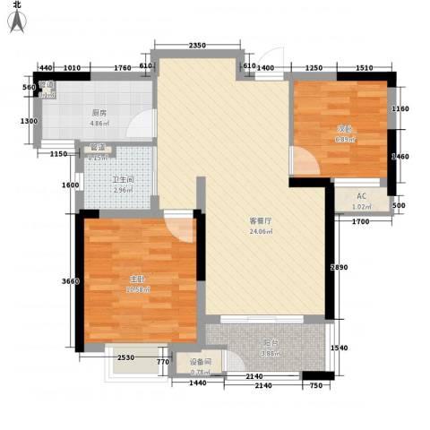 新城御景湾2室1厅1卫1厨83.00㎡户型图