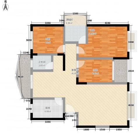 智邦家园3室1厅2卫1厨139.00㎡户型图