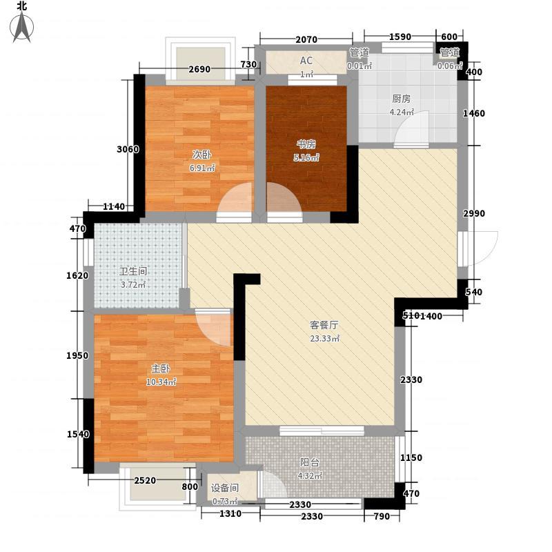 新城御景湾93.00㎡D户型3室2厅1卫1厨