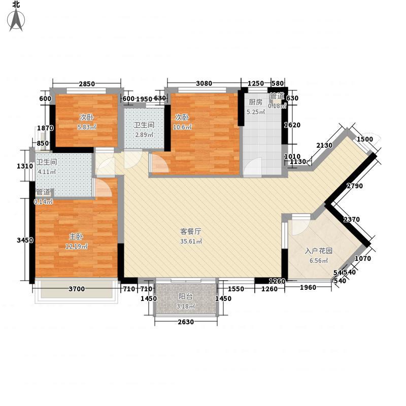 万科金域东郡104.00㎡万科金域东郡户型图B-2奇数层3室2厅2卫1厨户型3室2厅2卫1厨