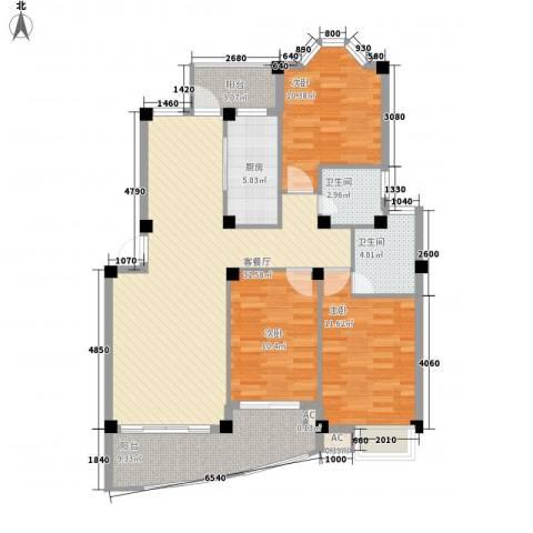 蓝湾景天3室1厅2卫1厨129.00㎡户型图