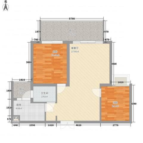 文华花园2室1厅1卫1厨96.00㎡户型图