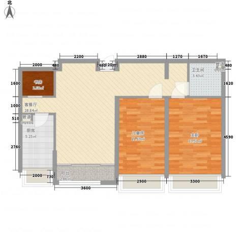 华创观礼中心3室1厅1卫1厨68.42㎡户型图