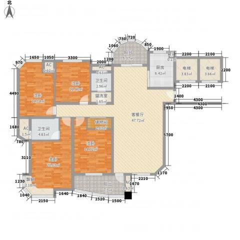 富川瑞园4室1厅2卫1厨160.00㎡户型图