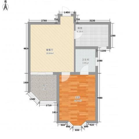 澜郡1室1厅1卫1厨71.00㎡户型图