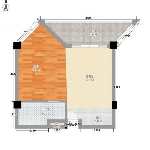 椰风海韵度假公寓1厅1卫0厨65.00㎡户型图