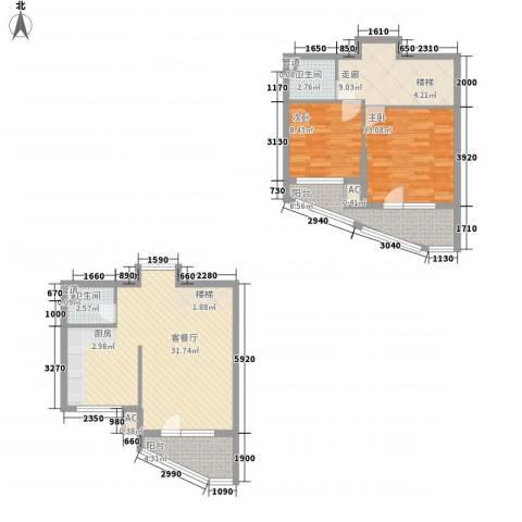 东城天下2室1厅2卫0厨79.44㎡户型图