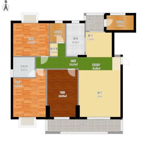 岳麓山庄华裕阁3室1厅2卫1厨161.00㎡户型图