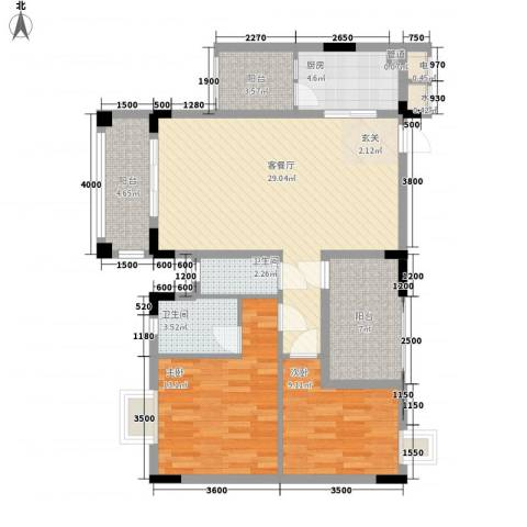 钜隆金溪蓝湾2室1厅2卫1厨87.00㎡户型图