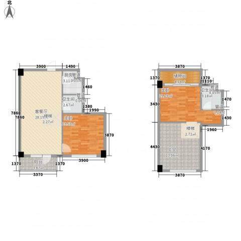 菁英汇2室1厅2卫1厨88.57㎡户型图