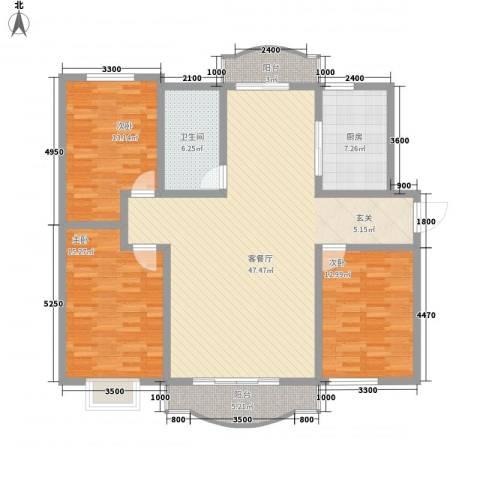 汇园楼3室1厅1卫1厨157.00㎡户型图