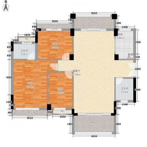 福安公寓3室1厅2卫1厨142.00㎡户型图