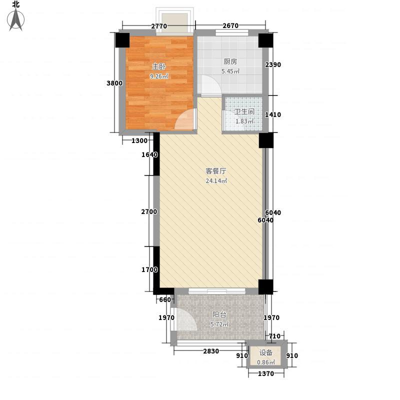 恒生府邸5.20㎡4幢标准层02户型1室2厅1卫1厨