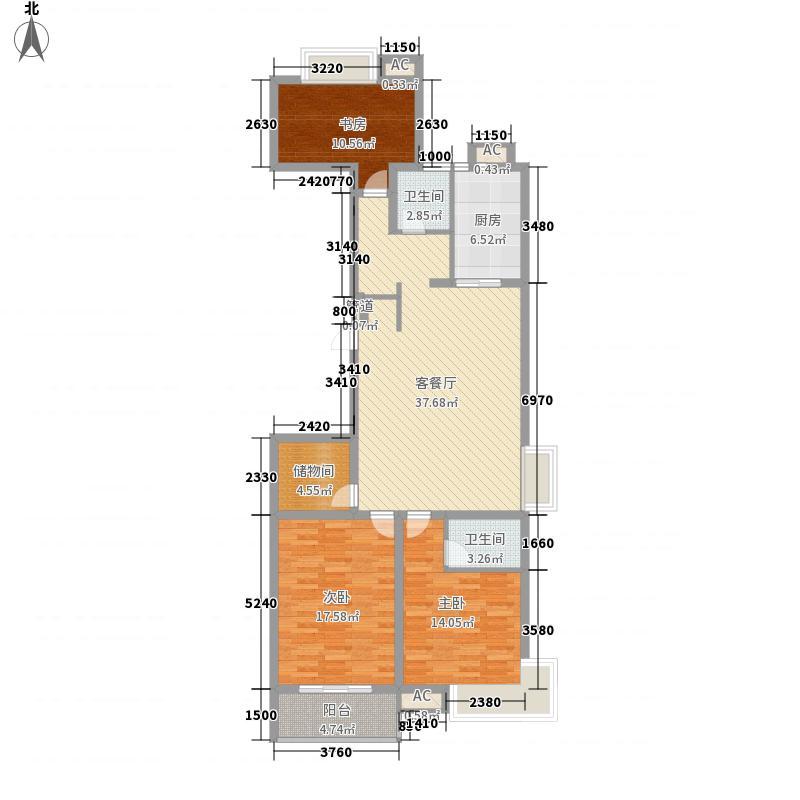 沁林雅苑148.00㎡标准层B户型3室2厅2卫1厨