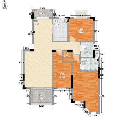东方海德堡3室1厅2卫1厨118.00㎡户型图