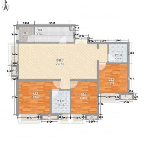 融科橄榄城三期君邑3室1厅2卫1厨127.00㎡户型图
