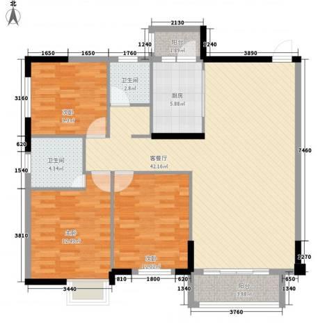 广大上城3室1厅2卫1厨132.00㎡户型图