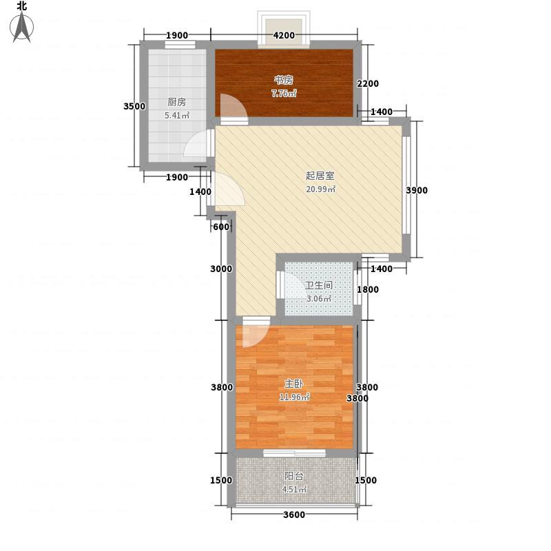 海岸壹号6.87㎡C2户型2室2厅1卫1厨