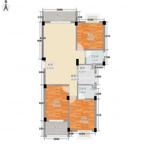 网枝村私人楼盘3室1厅2卫1厨113.00㎡户型图