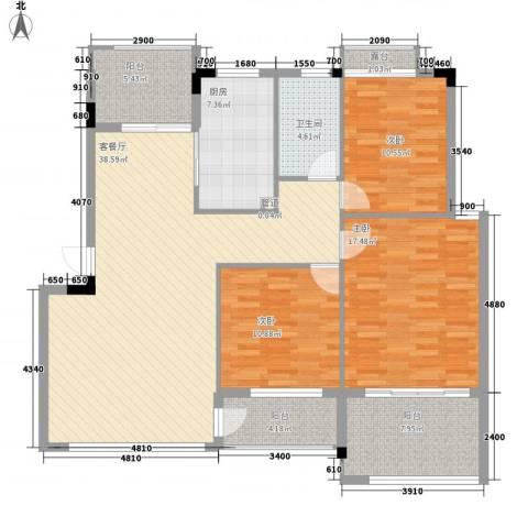 星电阳光城3室1厅1卫1厨120.58㎡户型图