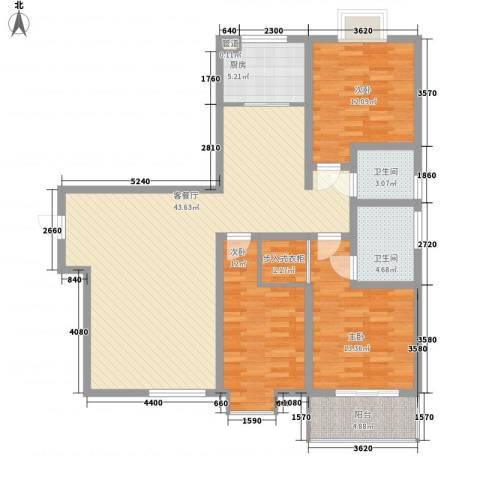 新旅城3室1厅2卫1厨142.00㎡户型图