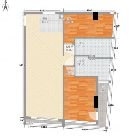 双大国际公馆2室1厅2卫0厨105.00㎡户型图