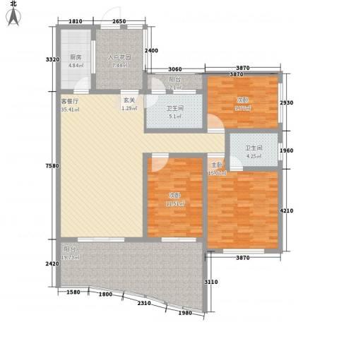 自在山居3室1厅2卫1厨124.00㎡户型图