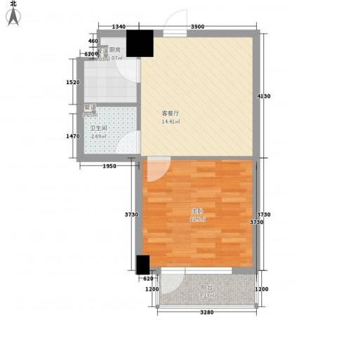 菁英汇1室1厅1卫1厨56.00㎡户型图
