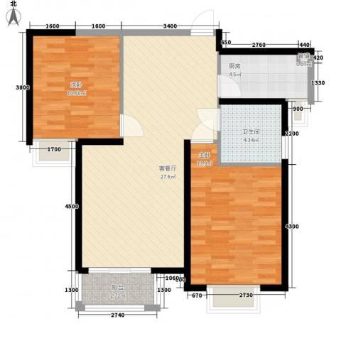 蓝鼎滨湖假日枫丹苑2室1厅1卫1厨86.00㎡户型图