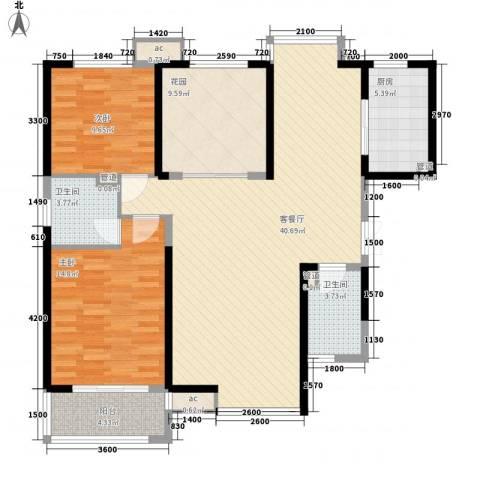 �灞1号2室1厅2卫1厨132.00㎡户型图