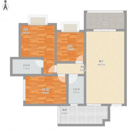 荧鸿城二期3室1厅2卫1厨138.00㎡户型图