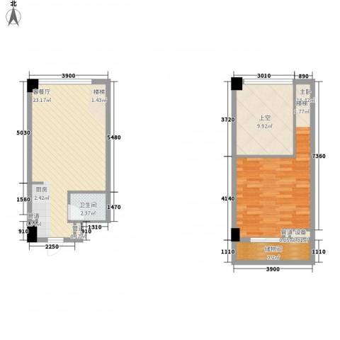 菁英汇1室1厅1卫0厨55.70㎡户型图