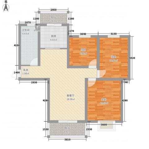 宿迁盛世嘉园3室1厅1卫1厨116.00㎡户型图