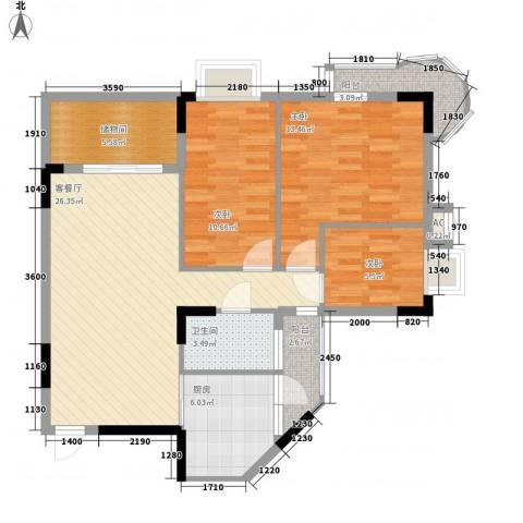 金逸雅居3室1厅1卫1厨110.00㎡户型图