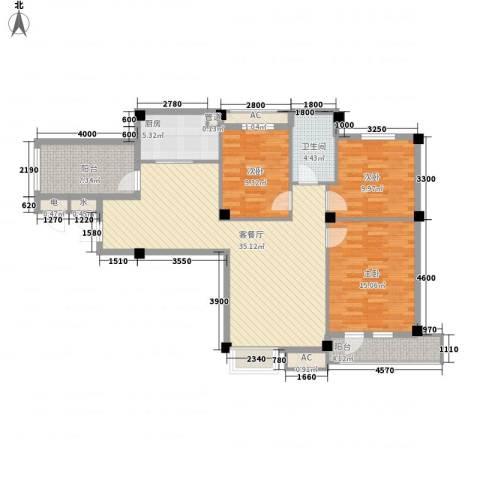 长城世纪华府3室1厅1卫1厨112.00㎡户型图