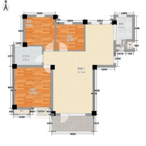 长城世纪华府3室1厅1卫1厨106.00㎡户型图