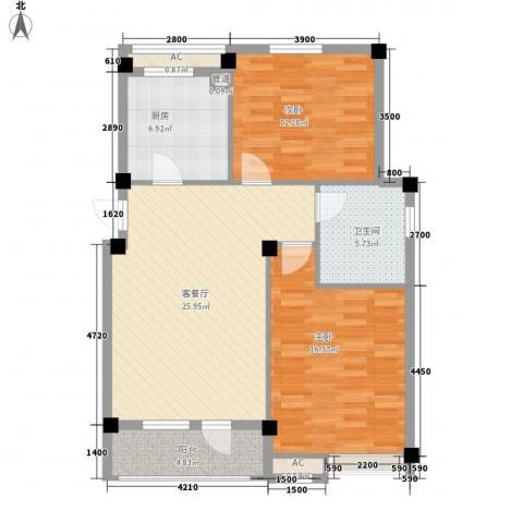 长城世纪华府2室1厅1卫1厨93.00㎡户型图