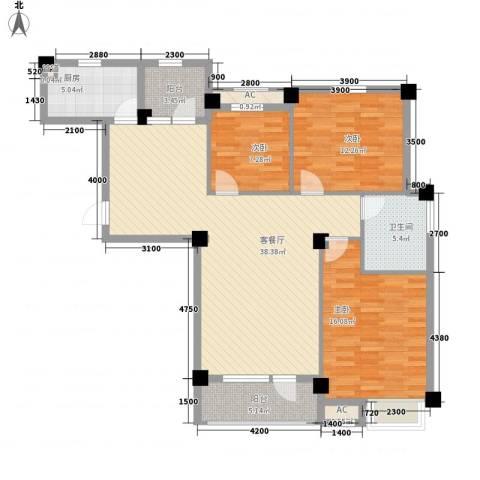 长城世纪华府3室1厅1卫1厨120.00㎡户型图