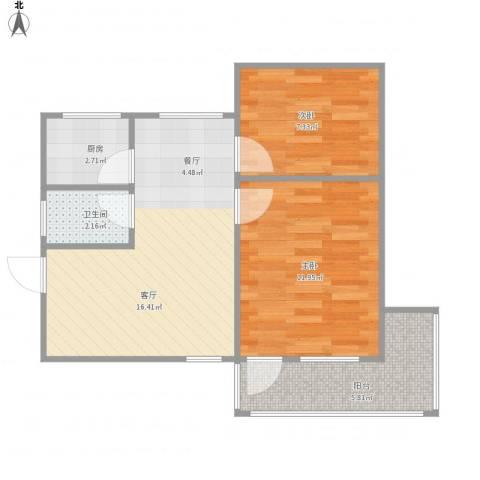 南苑话园2室1厅1卫1厨63.00㎡户型图