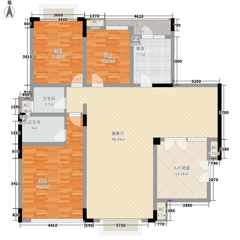 龙湖铜雀台164.00㎡B3户型3室2厅2卫1厨