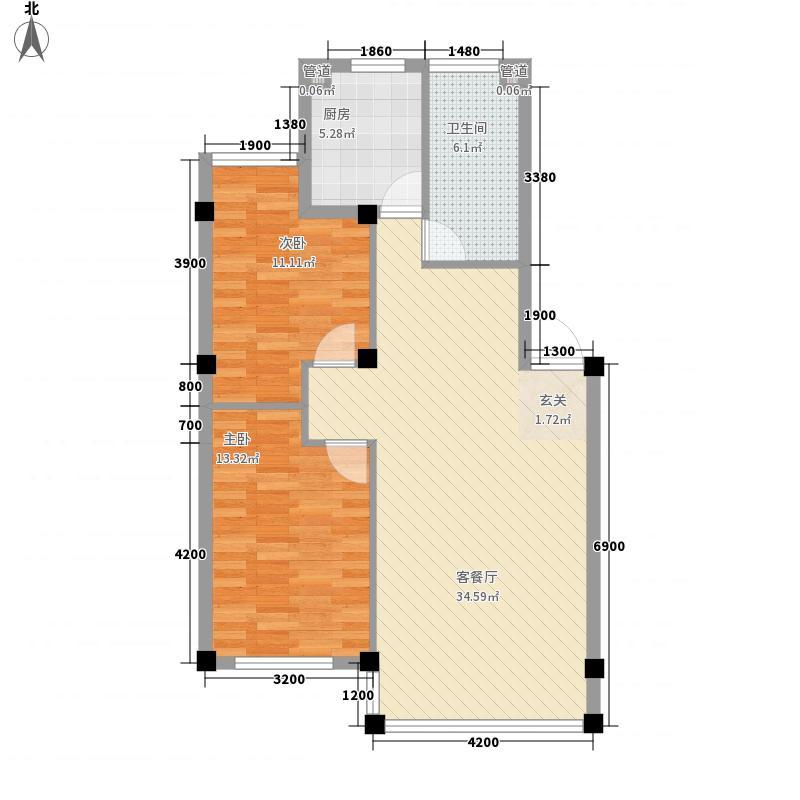 石岛城市花园8.20㎡户型2室1厅1卫1厨