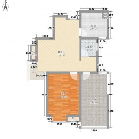 七彩星城国学府1室1厅1卫1厨78.00㎡户型图