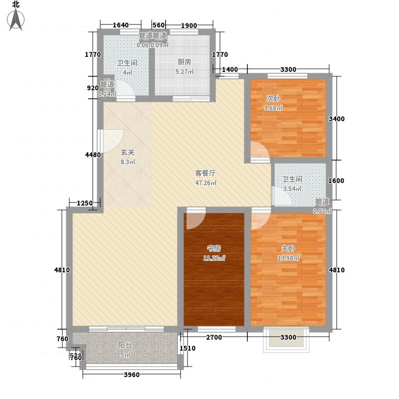 嘉木花园13.00㎡A户型3室2厅2卫1厨